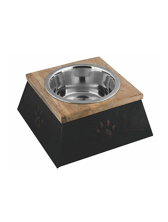 Copper finish wooden top sleeve with removable stainless steel bowl