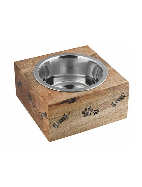 Square wooden sleeve with stainless steel bowl removable bowl