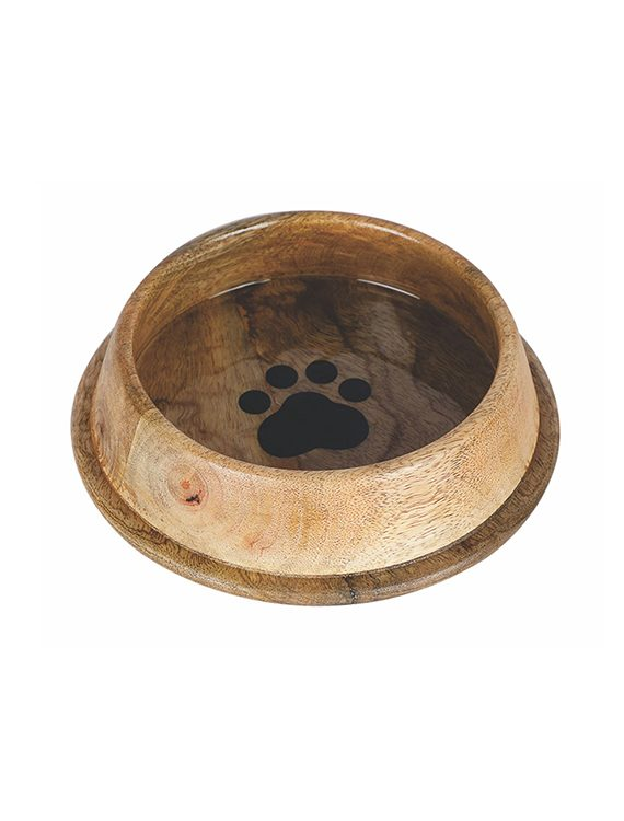 Wooden Non Skid Bowl with Paw Design