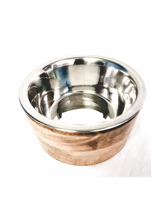 Wooden sleeve with removable stainless steel bowl